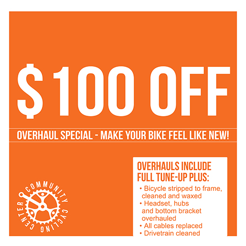 $100 off a bike overhaul