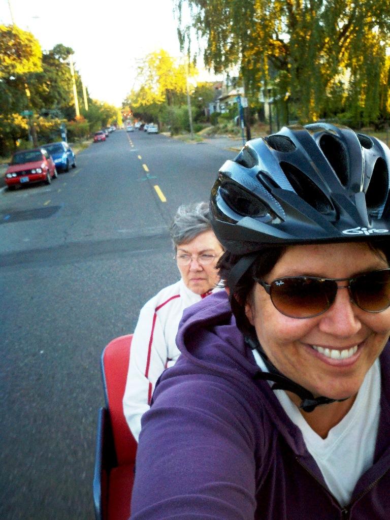 Rebecca and her mom in a pedicab