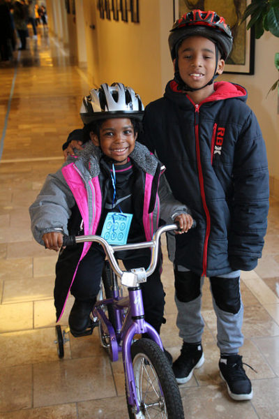 New riders at the Holiday Bike Drive