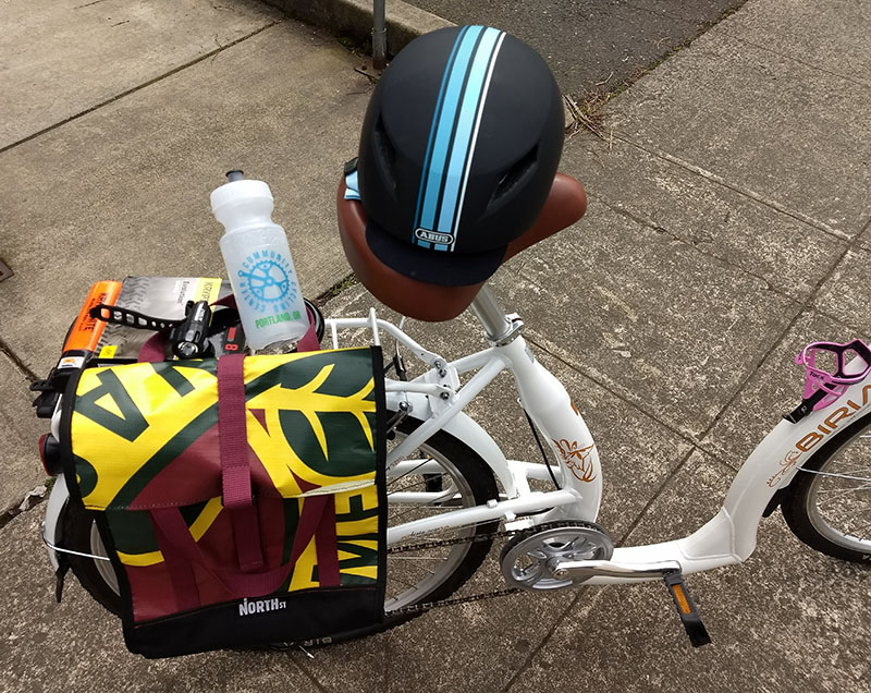 Photo of new accessories on bike